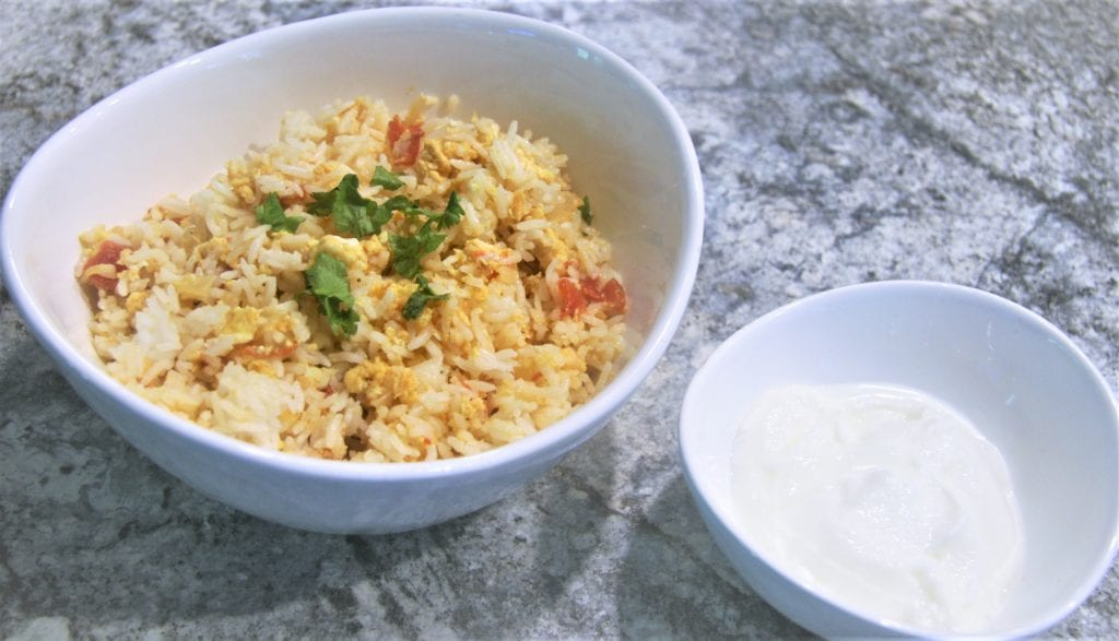 Egg Rice Served with Yoghurt