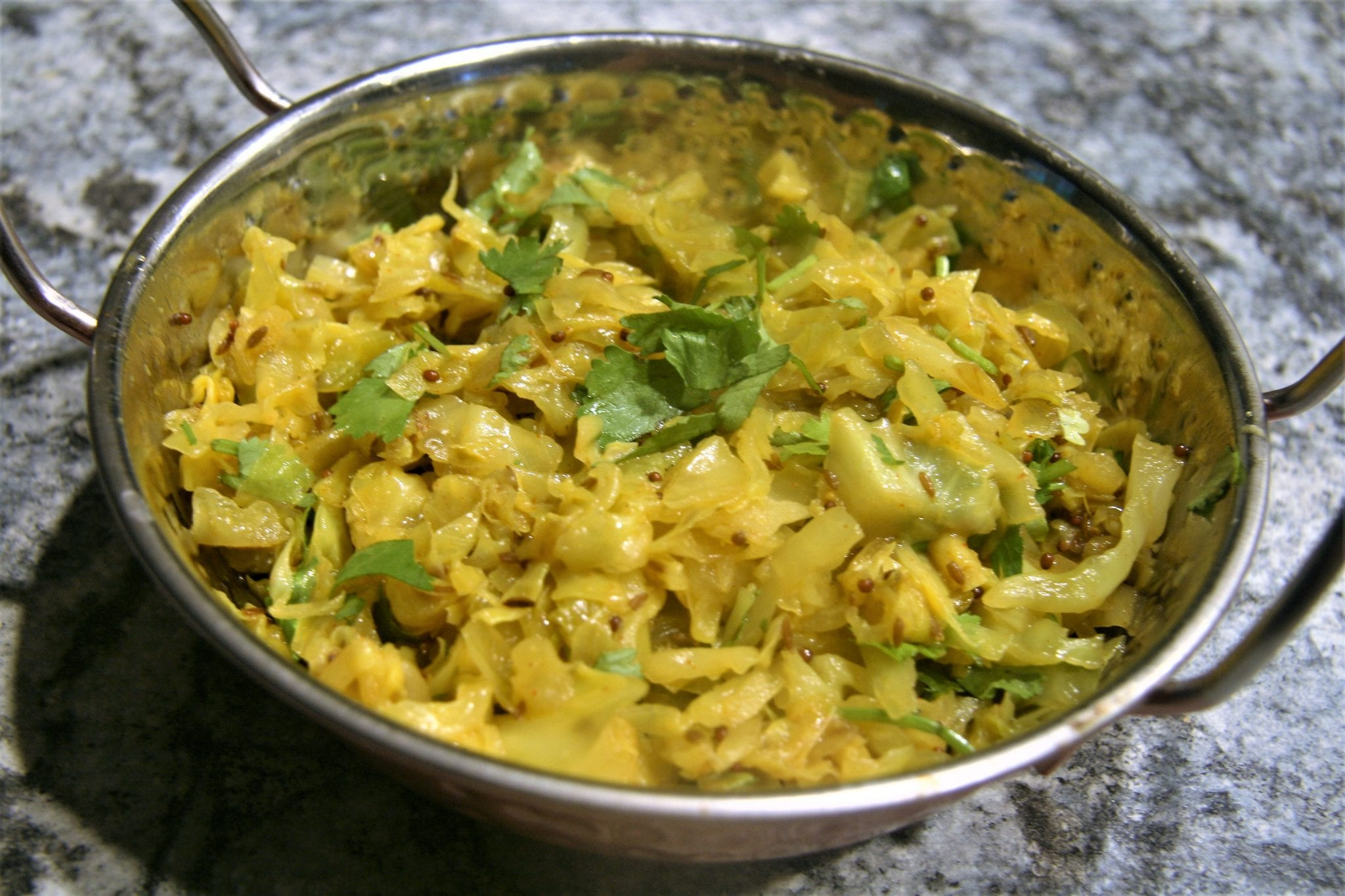 Spicy Cabbage Sabzi in a metal serving bowl
